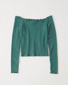 Long-Sleeve Off-The-Shoulder Top, GREEN