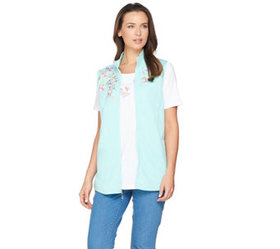 Quacker Factory Springtime Embroidered Vest and Sh