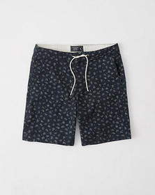 Pull-On Plainfront Shorts, Navy Blue Paisley