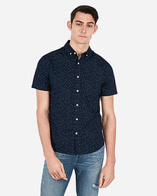 Express slim star print short sleeve shirt