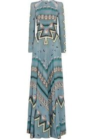 ETRO Open-back cutout printed crepe de chine gown