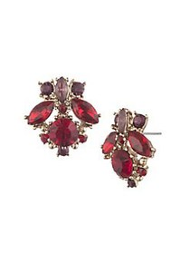 Marchesa Stone Cluster Button Earrings RED