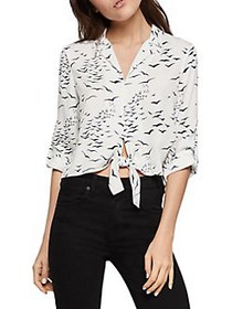 BCBGeneration Printed Tie-Front Blouse OPTIC WHITE