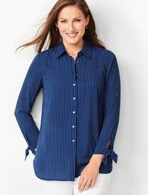 Talbots Tie-Sleeve Shirt - Stripe