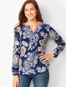Talbots Paisley Band-Collar Popover