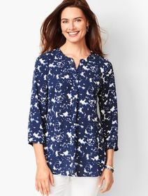 Talbots Banded-Collar Popover - Floral