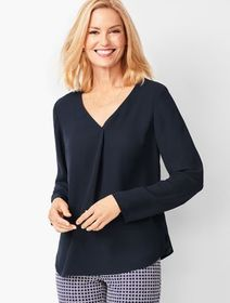 Talbots V-Neck Pleated Top - Solid