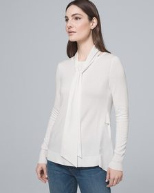 Pleated-Back Twofer Sweater