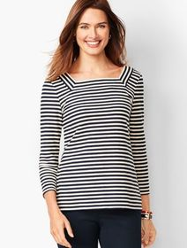 Talbots Textured Square-Neck Tee - Stripe