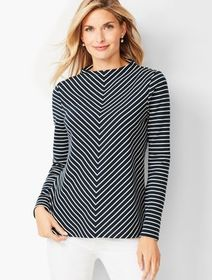 Talbots Mockneck Cotton Top - Chevron
