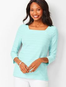 Talbots Textured Square-Neck Tee - Solid Jacquard