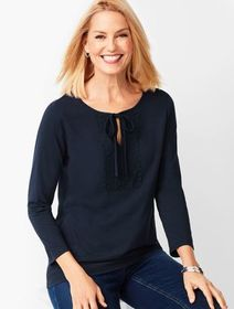 Talbots Tie-Detail Lace-Trim Top