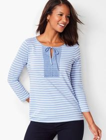 Talbots Tie-Detail Lace-Trim Top - Stripe