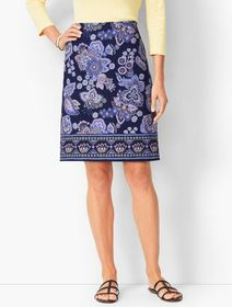 Talbots Paisley Canvas A-Line Skirt