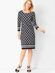 Talbots Geo-Print Contrast-Border Sheath Dress