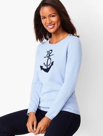 Talbots Anchor Motif Crewneck Sweater