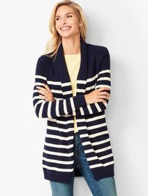 Talbots Stripe Shawl-Collar Duster
