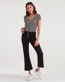 7 For All Mankind Cropped Ali With Destroy in Blac