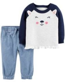 carters Baby Girl 2-Piece Dog Sweater & Chambray P