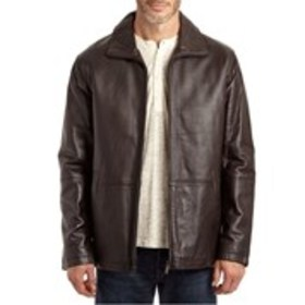 EXCELLED Mens Leather Hipster Jacket with Funnel C
