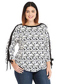 The Limited Plus Size 3/4 Tie Sleeve Blouse