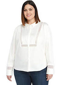 The Limited Plus Size Lace Trim Shirt