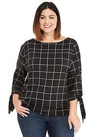 The Limited Plus Size Printed Banded Bottom Knit T