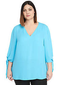 The Limited Plus Size Tie Sleeve V-Neck Blouse