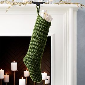 Crate Barrel Cozy Weave Green Stocking
