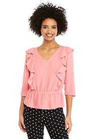 The Limited Petite Long Sleeve V-Neck Ruffle Front