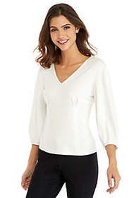 The Limited Petite V-Neck Puff Sleeve Blouse