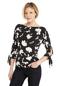 The Limited Petite Printed Banded Bottom Knit Top