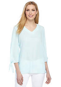 The Limited Petite Tie Sleeve V-Neck Blouse