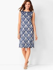 Talbots Cotton Sateen Shift Dress - Medallion