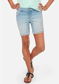 Justice Destructed Denim Mid Thigh Shorts