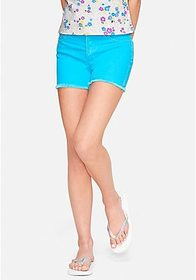 Justice Color High Waist Denim Midi Shorts
