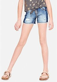 Justice Two Tone Destructed Denim Midi Shorts