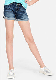 Justice Destructed Relaxed Fit Denim Midi Shorts