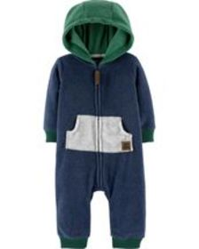 Osh Kosh Baby BoyZip-Up Hooded Fleece Jumpsuit