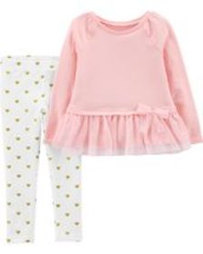 Osh Kosh Toddler Girl2-Piece Bow Peplum Top & Hear