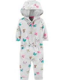 carters Baby Girl Hooded Zip-Up Butterfly Jumpsuit