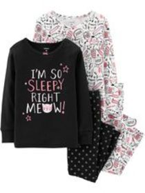 carters Baby Girl 4-Piece Glow-In-The-Dark Kitty S
