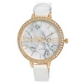 BEBE Womens Crystal Bezel Marble Dial White Band W