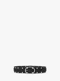 Michael Kors Studded Woven Leather Belt