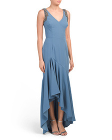 DAVID MEISTER High Lo V Neck Gown With Beaded Shou