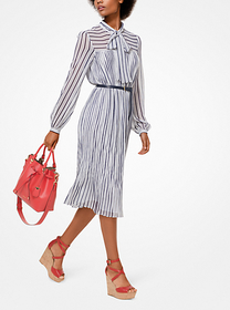 Michael Kors Striped Crinkled Georgette Tie-Neck D
