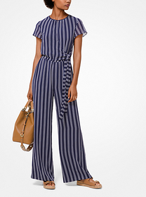 Michael Kors Striped Georgette Jumpsuit