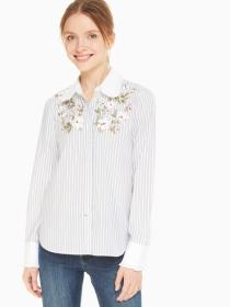 embroidered stripe ruffle top