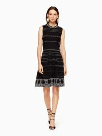 textured knit fit and flare dress