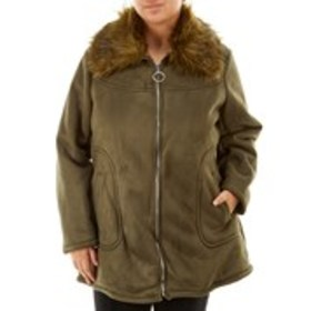 JESSICA SIMPSON Faux Suede Coat with Faux Fur Coll